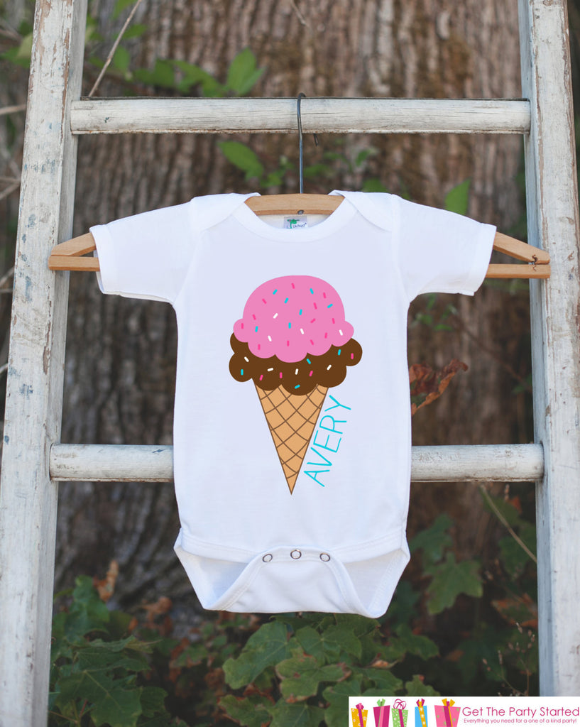 Ice Cream Cone Onepiece Bodysuit - Novelty Bodysuit Makes a Great Baby Shower Gift for a New Baby Girl - Personalized Ice Cream Outfit - Get The Party Started
