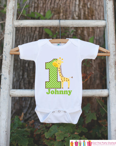 First Birthday Giraffe Jungle Onepiece - Personalized Bodysuit For Boy's 1st Birthday Party - Jungle Bodysuit Birthday Outfit Green & Brown