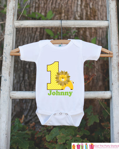 First Birthday King of the Jungle Onepiece - Personalized Bodysuit For Boy's 1st Birthday Party - Lion Bodysuit Boys First Birthday Outfit