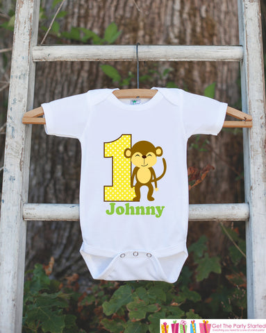 First Birthday Monkey Jungle Onepiece - Personalized Bodysuit For Boy's 1st Birthday Party - Jungle Bodysuit Birthday Outfit Green & Yellow