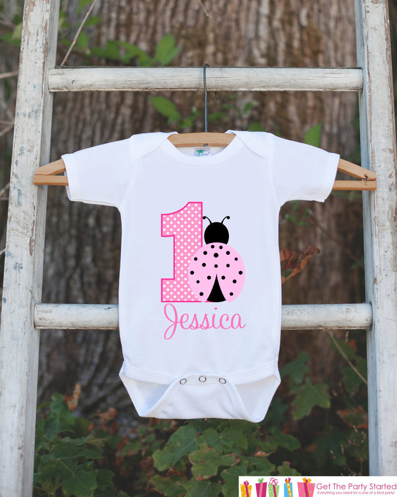 First Birthday Ladybug Onepiece - Personalized Bodysuit For Girl's 1st Birthday Party - Light & Hot Pink Ladybug Bodysuit Birthday Outfit - Get The Party Started