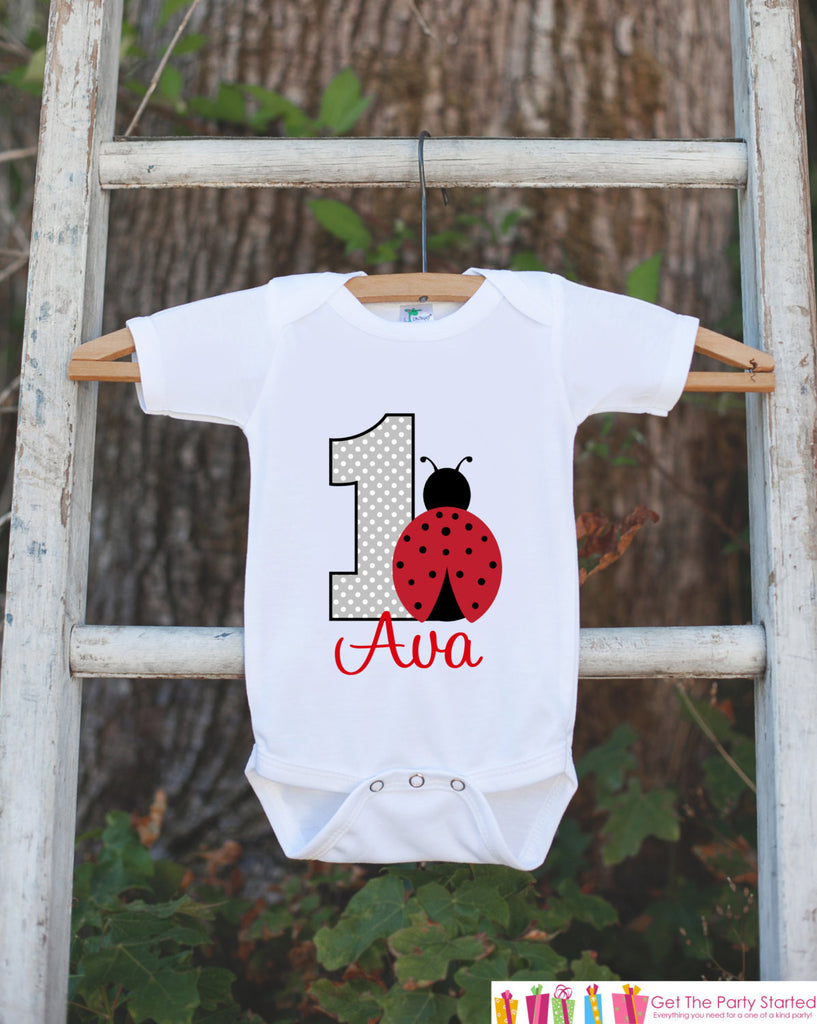 First Birthday Ladybug Onepiece - Personalized Bodysuit For Girl's 1st Birthday Party - Red & Black Ladybug Bodysuit Birthday Outfit - Get The Party Started