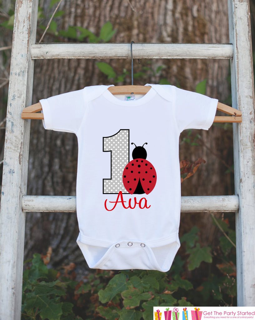 First Birthday Ladybug Onepiece - Personalized Bodysuit For Girl's 1st Birthday Party - Red & Black Ladybug Bodysuit Birthday Outfit