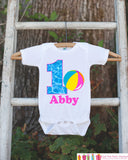 Pool Party Onepiece Bodysuit - First Birthday Bodysuit - Personalized Pool Party Outfit with Baby Girl's Name and Age and Beach Ball - Get The Party Started