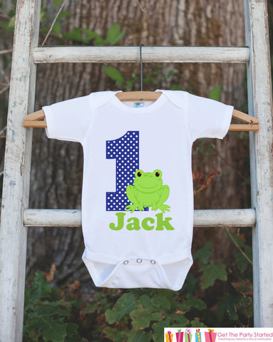 First Birthday Frog Outfit - Personalized Bodysuit For Boy's 1st Birthday Party - Preppy Frog Bodysuit Birthday Outfit With Name & Age - Get The Party Started