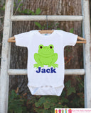 Frog Outfit - Personalized Bodysuit For Boy's 1st Birthday Party - Preppy Frog Bodysuit - Frog Baby Shower Gift With Name - Frog Onepiece