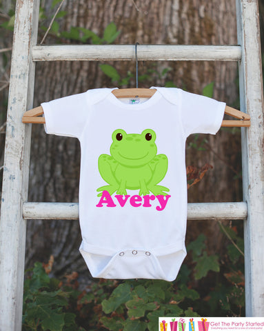 Frog Outfit - Personalized Bodysuit For Girl's 1st Birthday Party - Preppy Frog Onepiece - Frog Baby Shower Gift With Name - Frog Shirt - Get The Party Started