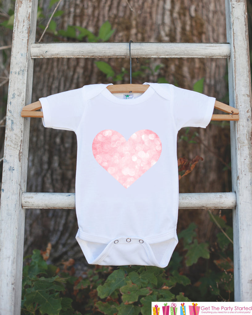 Pink Heart Bodysuit Onepiece - Novelty Bodysuit Makes a Great Baby Shower Gift for a New Baby Girl - Valentine's Day Outfit - Heart Shirt - Get The Party Started