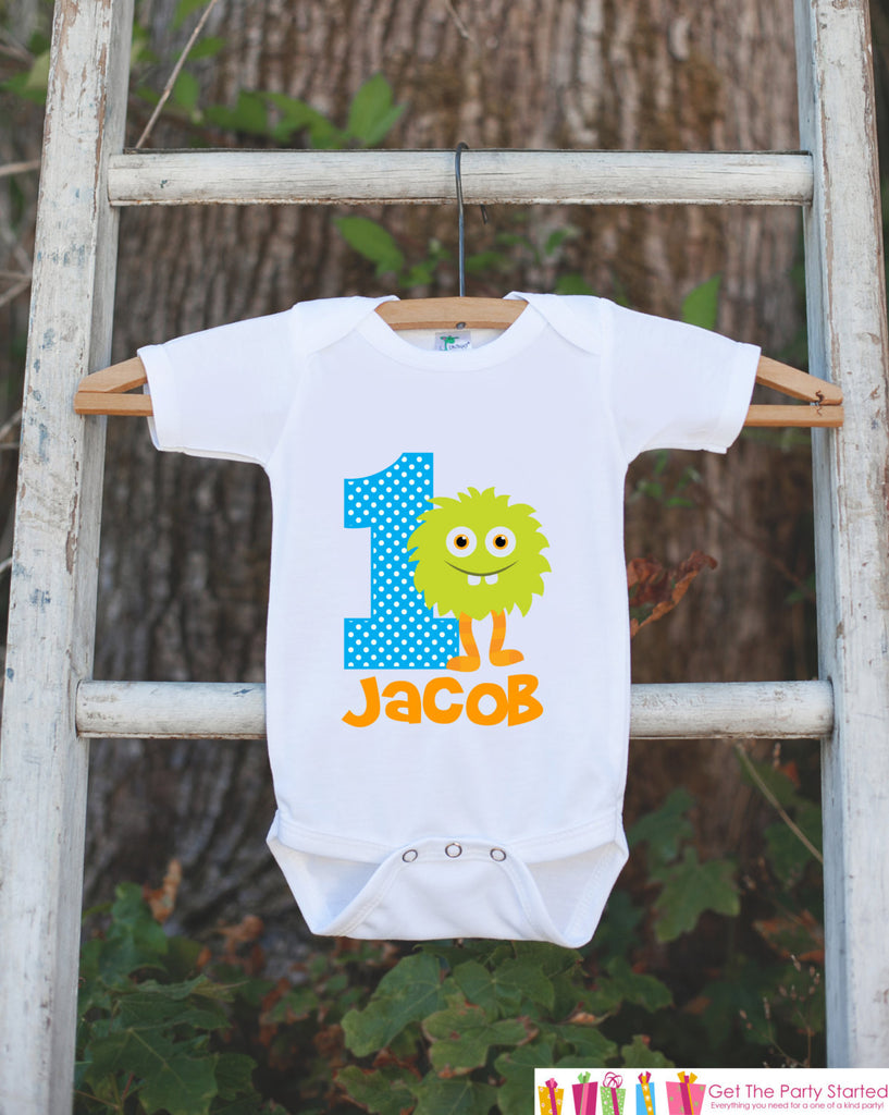 Monster Outfit - Personalized Bodysuit For Boy's 1st Birthday Party - First Birthday Little Monster Bodysuit Birthday Outfit With Name & Age - Get The Party Started