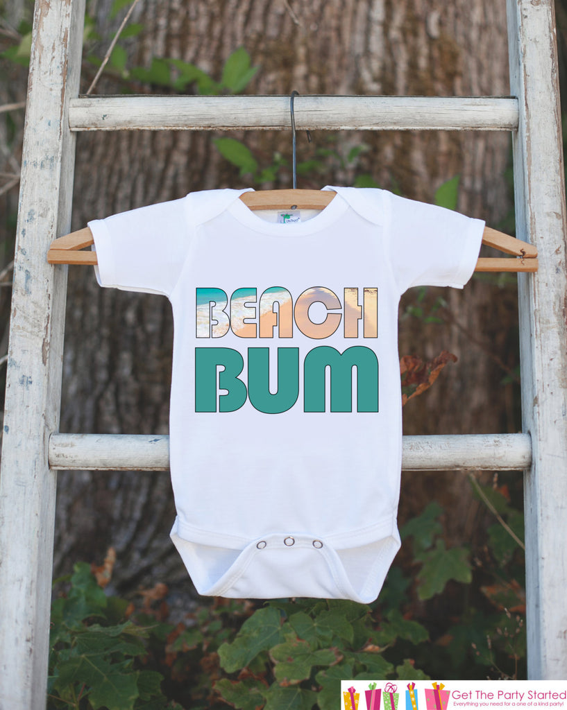 Beach Bum Bodysuit For Boys or Girls - Beach Onepiece - Summer Beach Vacation Novelty Onepiece Baby Shower Gift for New Baby Boy or Girl