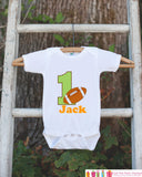 First Birthday Football Outfit - Personalized Bodysuit For Boy's 1st Birthday Party - Football Bodysuit Birthday Outfit With Name & Age - Get The Party Started