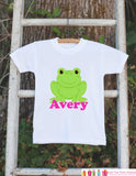 Frog Outfit - Personalized Bodysuit For Girl's 1st Birthday Party - Preppy Frog Bodysuit - Frog Baby Shower Gift With Name - Frog Shirt - Get The Party Started
