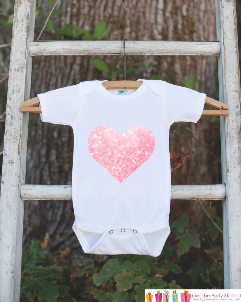 Valentine's Day Outfit - Pink Heart Bodysuit Onepiece - Novelty Bodysuit Makes a Great Baby Shower Gift for a New Baby Girl - Heart Shirt - Get The Party Started