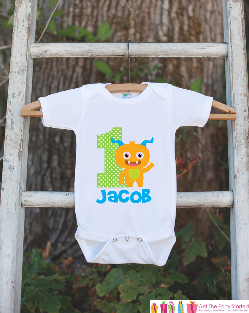 Monster Birthday Outfit - Personalized Bodysuit For Boy's 1st Birthday Party - First Birthday Little Monster Birthday Outfit With Name & Age - Get The Party Started