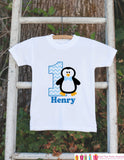 Penguin Birthday Outfit - Personalized Bodysuit For Boy's 1st Birthday Party - First Birthday Blue Penguin Birthday Outfit With Name & Age - Get The Party Started