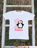 Penguin Birthday Outfit - Personalized Bodysuit For Girl's 1st Birthday Party - First Birthday Pink Penguin Birthday Outfit With Name & Age - Get The Party Started