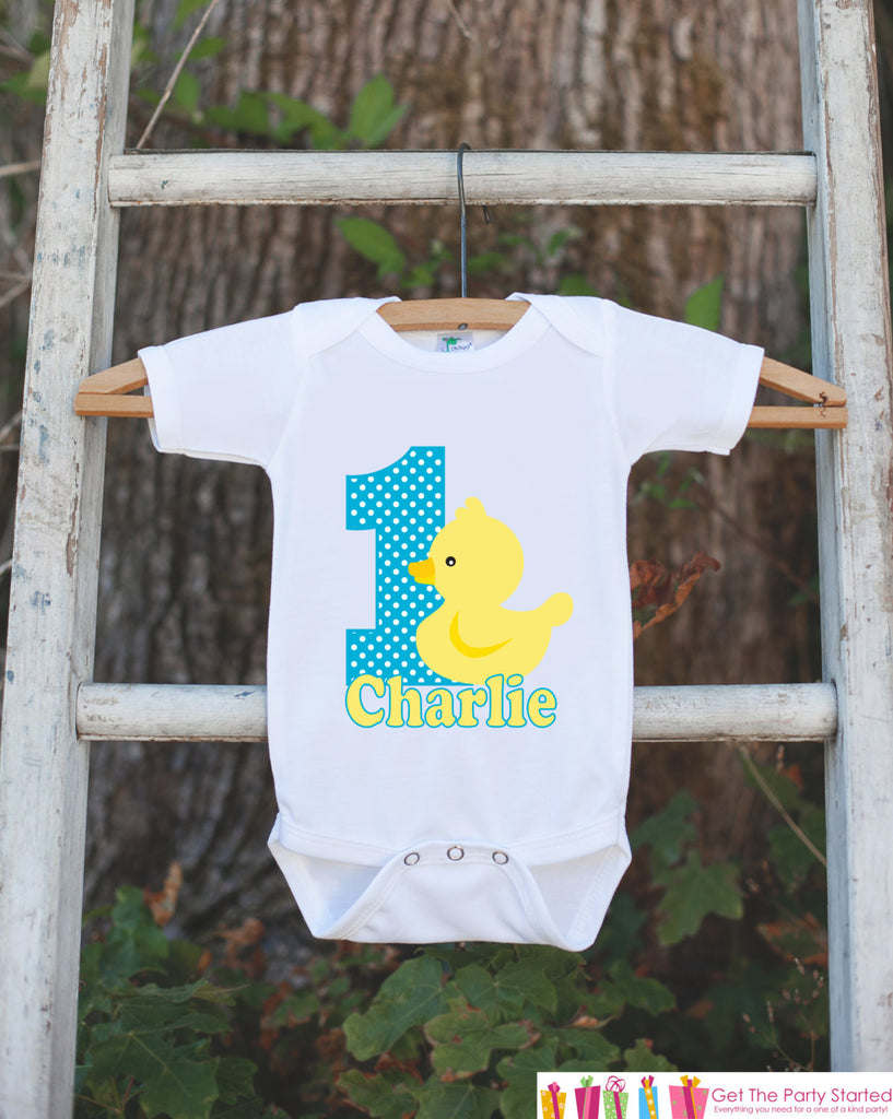 Yellow Rubber Duck Birthday Outfit - Personalized Bodysuit For Boy or Girl's 1st Birthday Party - First Birthday Outfit With Name & Age - Get The Party Started