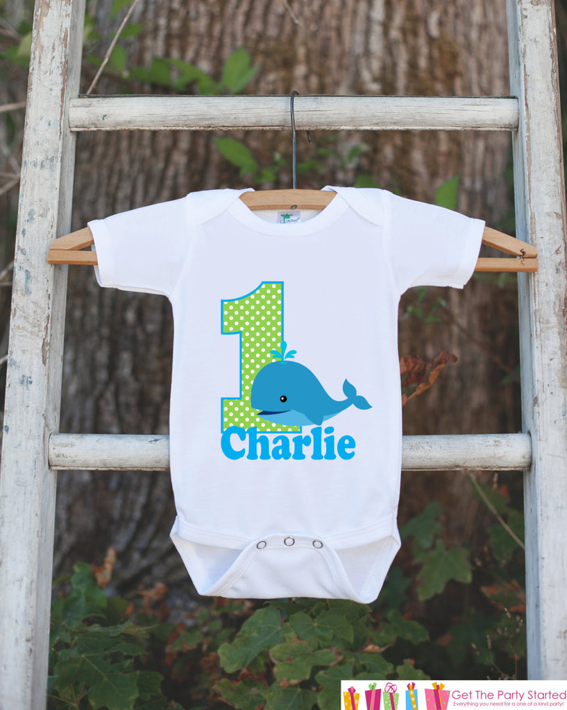 First Birthday Whale Bodysuit - Personalized Bodysuit For Boy's 1st Birthday Party - Preppy Whale Onepiece Birthday Outfit With Name and Age - Get The Party Started