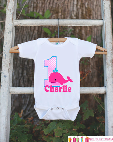 First Birthday Whale Bodysuit - Personalized Bodysuit For Girls 1st Birthday Party - Preppy Whale Onepiece Birthday Outfit With Name and Age