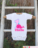 First Birthday Whale Bodysuit - Personalized Bodysuit For Girls 1st Birthday Party - Preppy Whale Onepiece Birthday Outfit With Name and Age - Get The Party Started