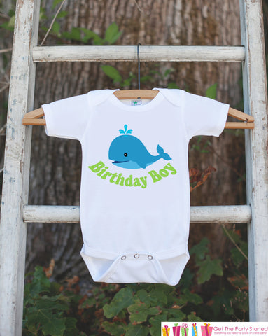 Birthday Boy Whale Bodysuit - Under The Sea Bodysuit For Boy's Birthday Party - Preppy Whale Onepiece Birthday Outfit - Ocean Birthday Shirt - Get The Party Started