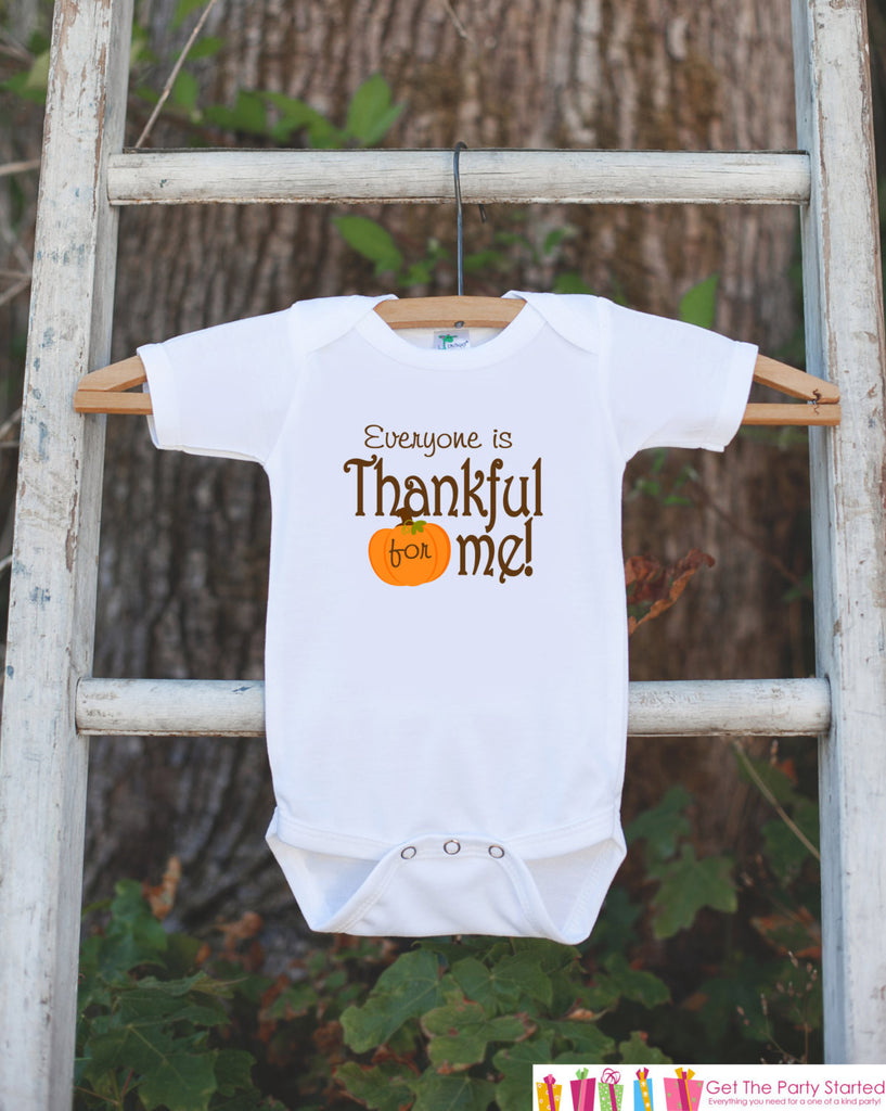 Thankful For Me Thanksgiving Shirt - Thanksgiving Onepiece - Thanksgiving Outfit for New Baby Boy or Baby Girl - Pregnancy Announcement - Get The Party Started