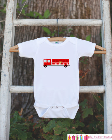Firetruck Bodysuit - Bodysuit For Boy Birthday Party - Firetruck Onepiece Birthday Outfit - Firetruck Baby Shower Gift - Firefighter - Get The Party Started