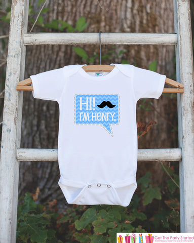 Hi! Personalized Bodysuit - Mustache Bodysuit Makes a Great Baby Shower Gift for a New Baby Boy - Trendy Chevron Infant Bodysuit With Name - Get The Party Started