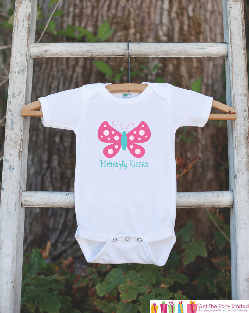 Butterfly Bodysuit - Butterfly Kisses Bodysuit For Baby Girls - Butterfly Baby Shower Gift - Novelty Newborn Infant Butterfly Shirt Outfit - Get The Party Started