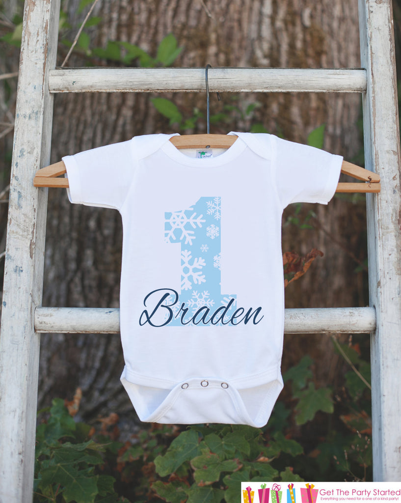 Snowflake Birthday Outfit - Personalized Bodysuit For Boy's 1st Birthday Party - First Birthday Winter Wonderland Birthday Outfit Onederland - Get The Party Started