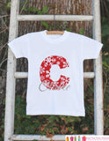 Snowflake Initial Shirt - Personalized Bodysuit For Kids Christmas Photos with Santa - Snow Red & White Holiday Outfit - Christmas Pajamas - Get The Party Started