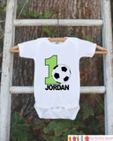 First Birthday Soccer Bodysuit - Personalized Bodysuit For Boy's 1st Birthday Party - Soccer Ball Onepiece Birthday Outfit With Name and Age - Get The Party Started