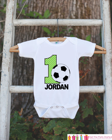 First Birthday Soccer Bodysuit - Personalized Bodysuit For Boy's 1st Birthday Party - Soccer Ball Onepiece Birthday Outfit With Name and Age