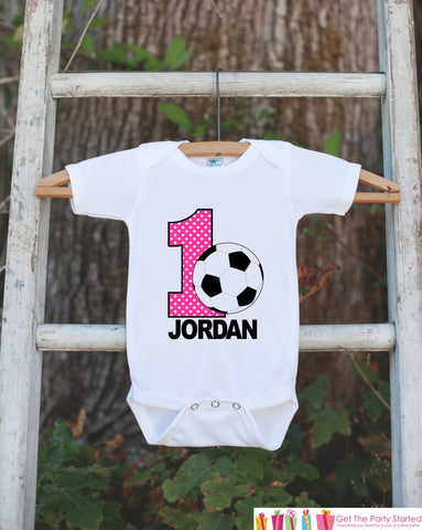 First Birthday Soccer Bodysuit - Personalized Bodysuit For Girls 1st Birthday Party - Soccer Ball Onepiece Birthday Outfit With Name and Age