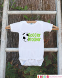Soccer Brother Outfit - Novelty Newborn Baby Shower Gift - Baby Boy Onepiece - Soccer Shirt - Soccer Bodysuit - Infant Soccer Fan - Get The Party Started