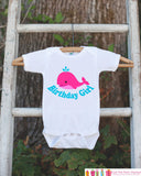 Birthday Girl Whale Bodysuit - Under The Sea Bodysuit For Girl's Birthday Party - Preppy Whale Onepiece Birthday Outfit - Ocean Birthday - Get The Party Started