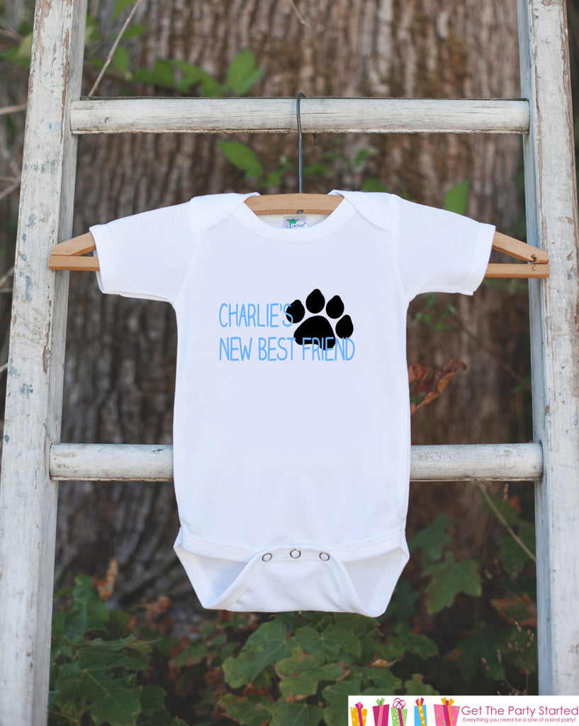 Dog's New Best Friend Outfit - Personalized New Baby Boy Guard Dog Pregnancy Announcement - Puppy Paw Print Onepiece - Baby Shower Gift