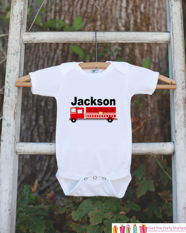 First Birthday Firetruck Bodysuit - Personalized Bodysuit For Boy's 1st Birthday Party - Firetruck Onepiece Birthday Outfit With Childs Name - Get The Party Started