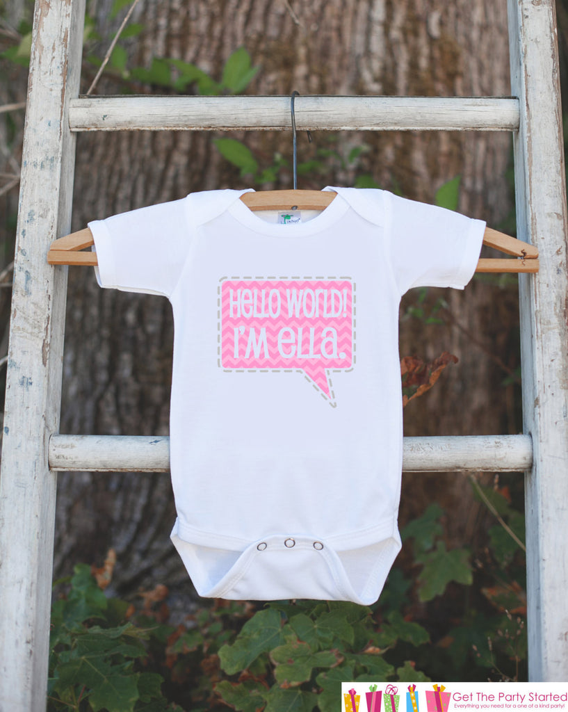 Hello World - Going Home Outfit - Personalized Bodysuit - Great Baby Shower Gift for a New Baby Girl - Pink Trendy Chevron Infant Onepiece - Get The Party Started