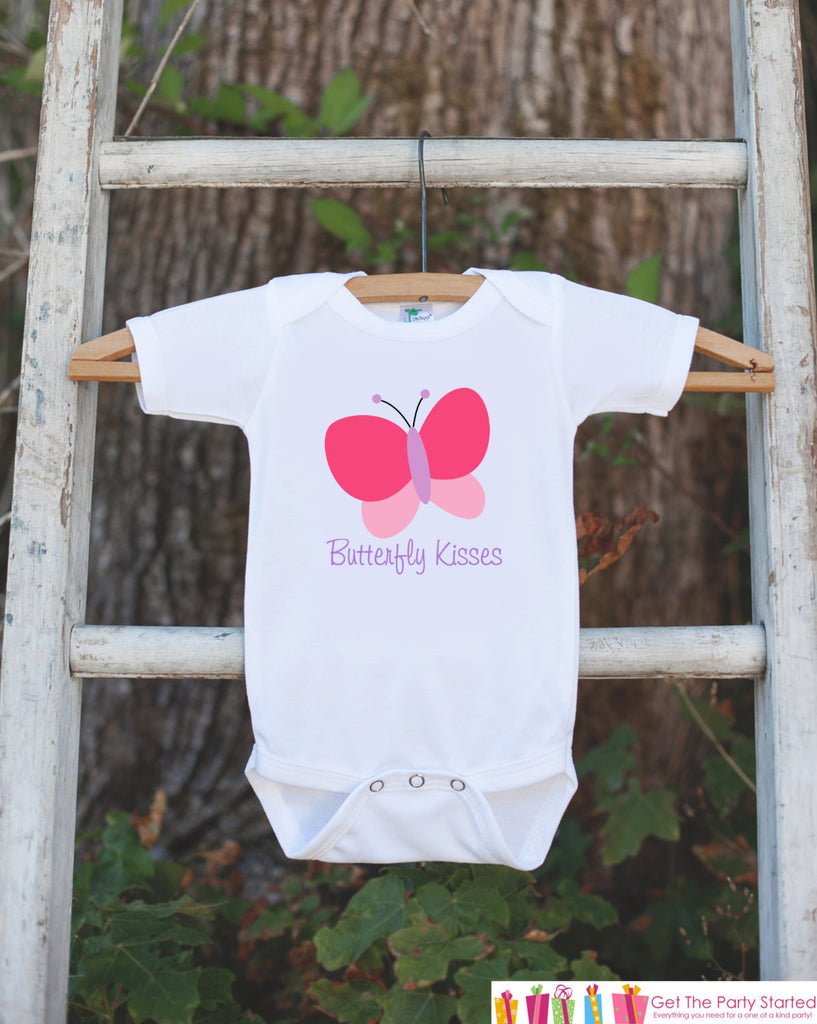 Butterfly Bodysuit - Butterfly Kisses Outfit For Baby Girls - Butterfly Baby Shower Gift - Novelty Newborn Infant Butterfly Outfit Shirt - Get The Party Started