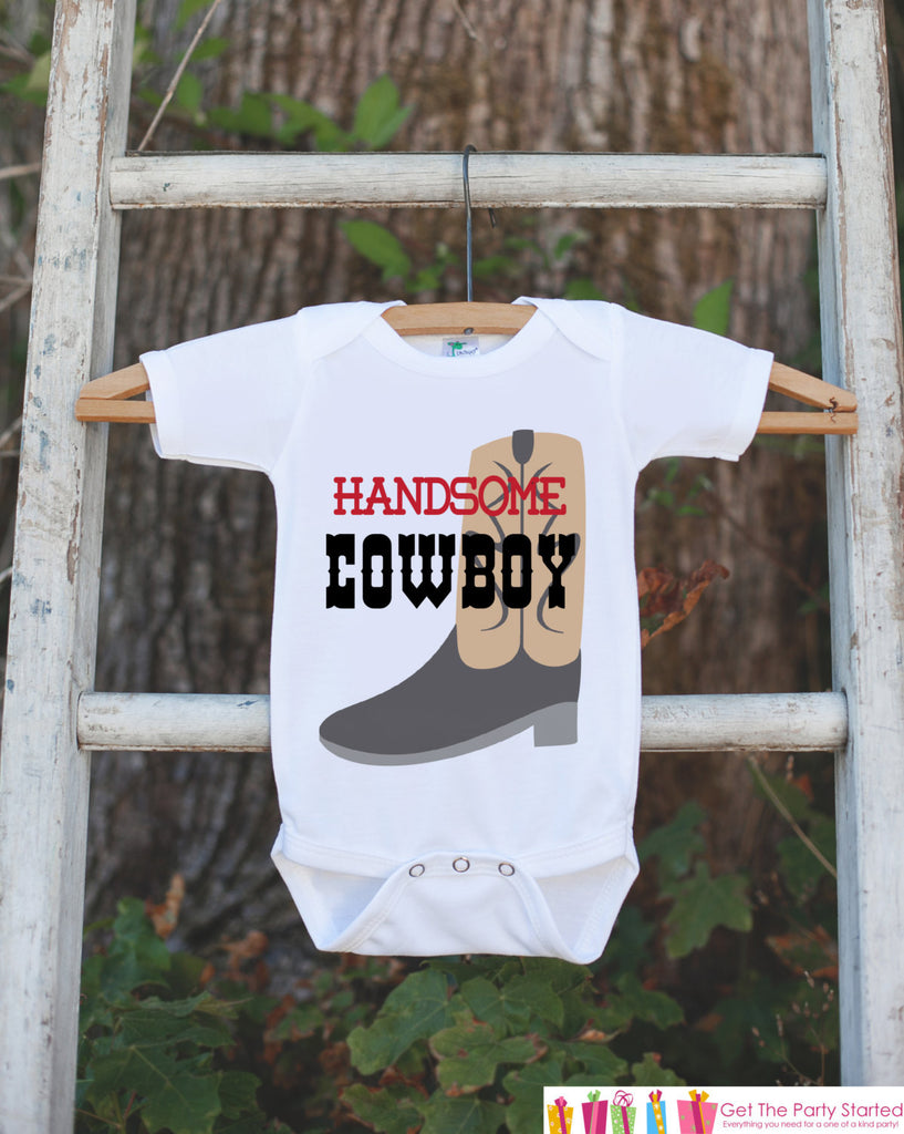 Handsome Cowboy Outfit - Novelty Bodysuit For Baby Boy - Western Bodysuit with Cowboy Boot - Cowboy Shirt - Boy Baby Shower Gift - Get The Party Started