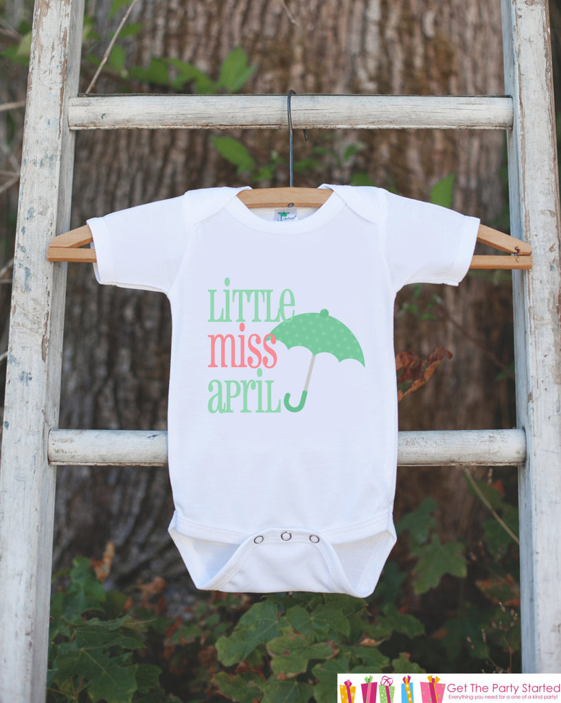 Little Miss April Onepiece Bodysuit - Take Home Outfit For Newborn Baby Girls - Pink Green Umbrella Infant Going Home Hospital Onepiece - Get The Party Started