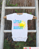Little Miss August Onepiece Bodysuit - Take Home Outfit For Newborn Baby Girls - Pink Summer Sunshine Infant Going Home Hospital Onepiece - Get The Party Started
