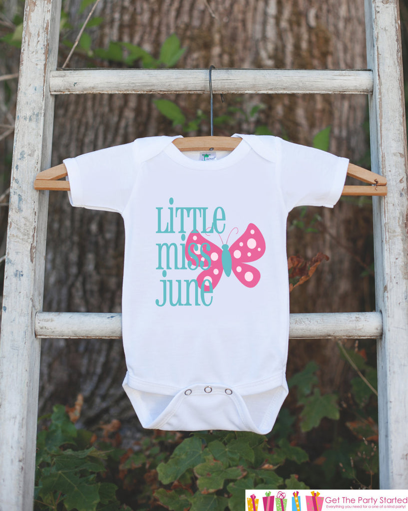 Little Miss June Onepiece Bodysuit - Take Home Outfit For Newborn Baby Girls - Pink Butterfly Infant Going Home Hospital Onepiece - Get The Party Started