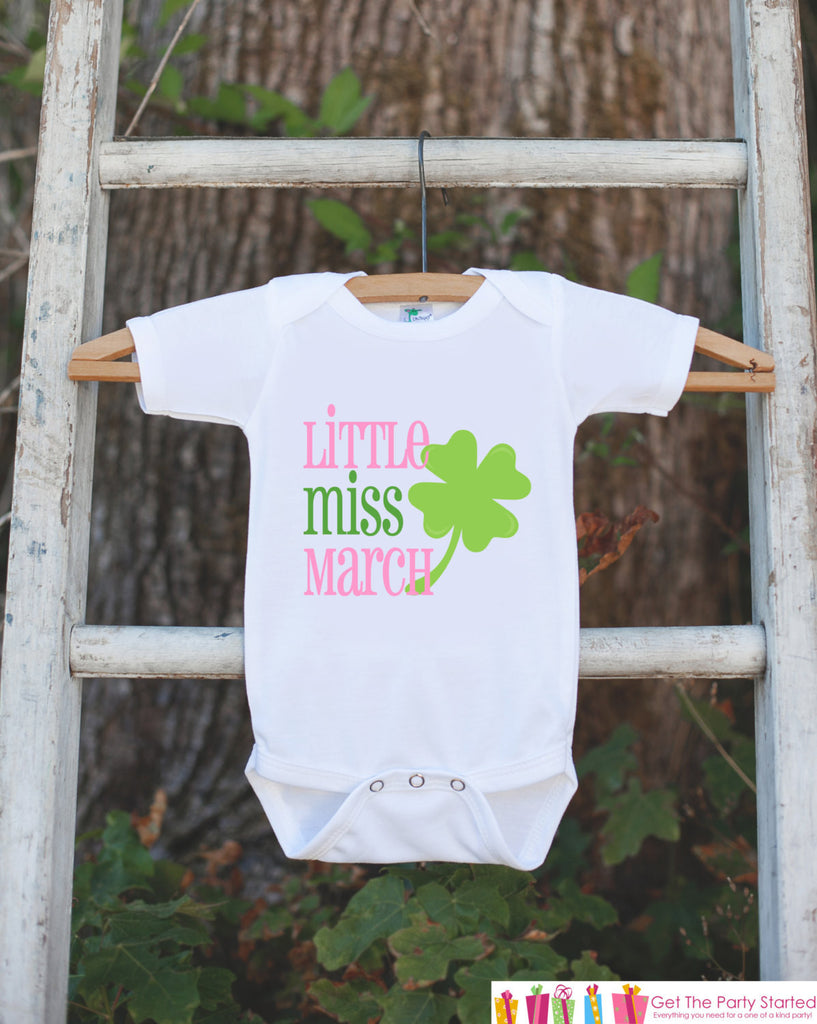 Little Miss March Onepiece Bodysuit - Take Home Outfit For Newborn Baby Girls - Lucky Green Clover Infant Going Home Hospital Onepiece - Get The Party Started