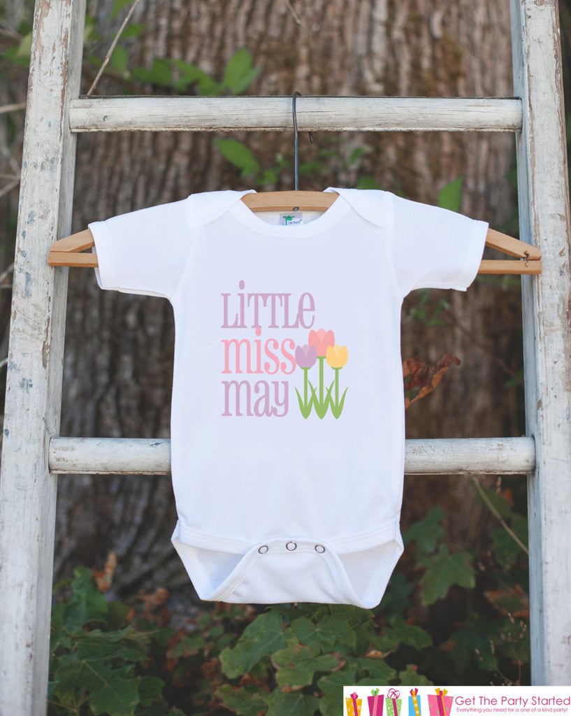 Little Miss May Onepiece Bodysuit - Take Home Outfit For Newborn Baby Girls - Pastel Spring Flowers Infant Going Home Hospital Onepiece - Get The Party Started