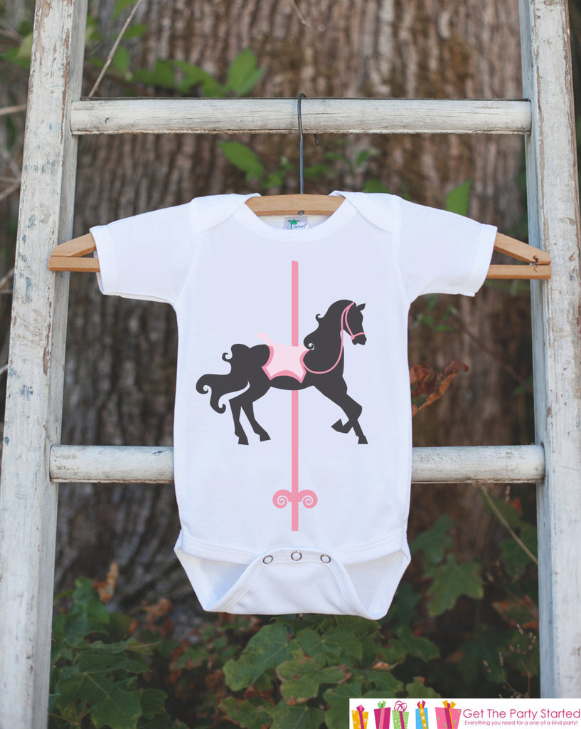 Carousel Onepiece Outfit - Novelty Baby Shower Gift or Birthday Party Outfit - Baby Girl Onepiece - Infant Newborn Horse Onepiece Bodysuit - Get The Party Started