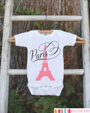 Paris Onepiece with Eiffel Tower - Novelty Baby Shower Gift - Newborn Baby Girl Outfit - Paris Onepiece Newborn Baby Shower Gift - Get The Party Started