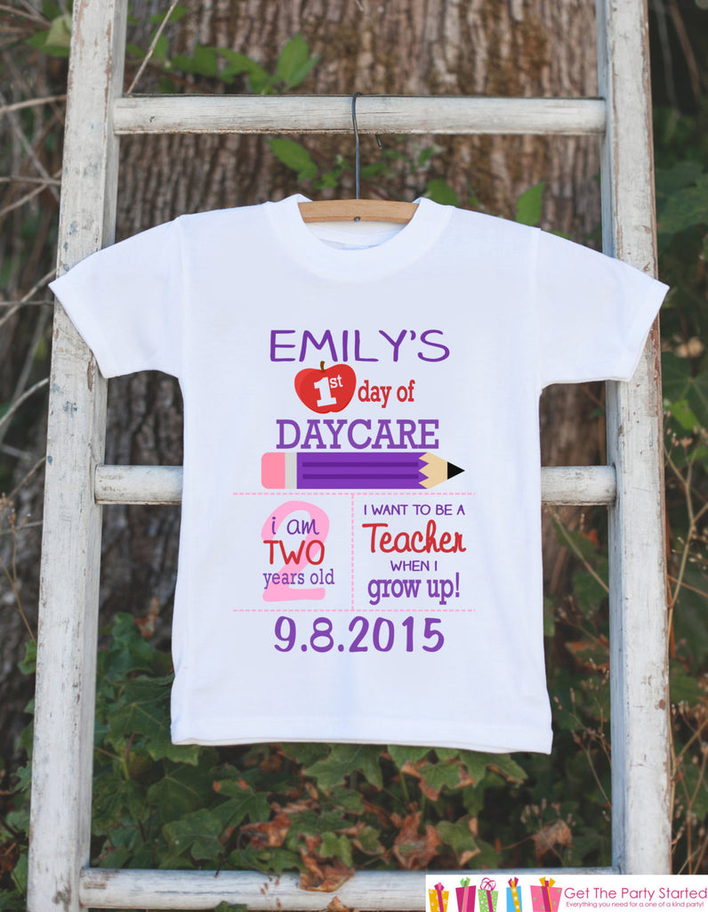 First Day of Daycare Outfit - Personalized Daycare Stats Shirt - Girls Stats Shirt - My First Day of Daycare Outfit for Baby Girls - Get The Party Started
