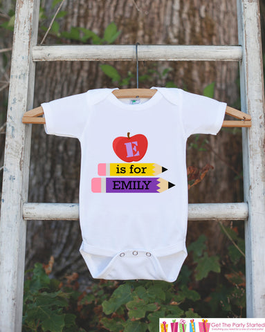 Baby School Outfit - Personalized School Shirt for Baby Girls - Teacher Baby Shower Gift - Baby Girl Clothes - Girl Onepiece Bodysuit - Get The Party Started